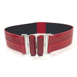 Vintage The Limited Red Elastic Wide Belt SZ Small